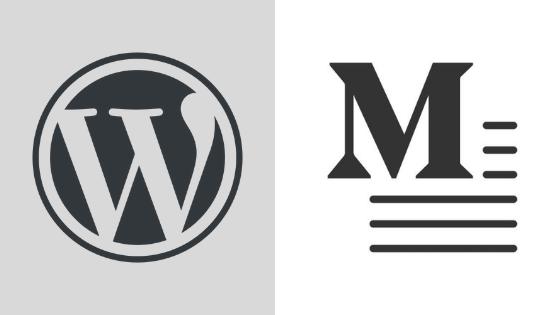 WordPress vs Medium: logo vs logo