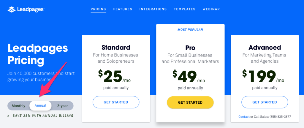 annual monthly pricing toggle