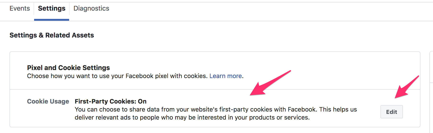Pixel & Cookie settings