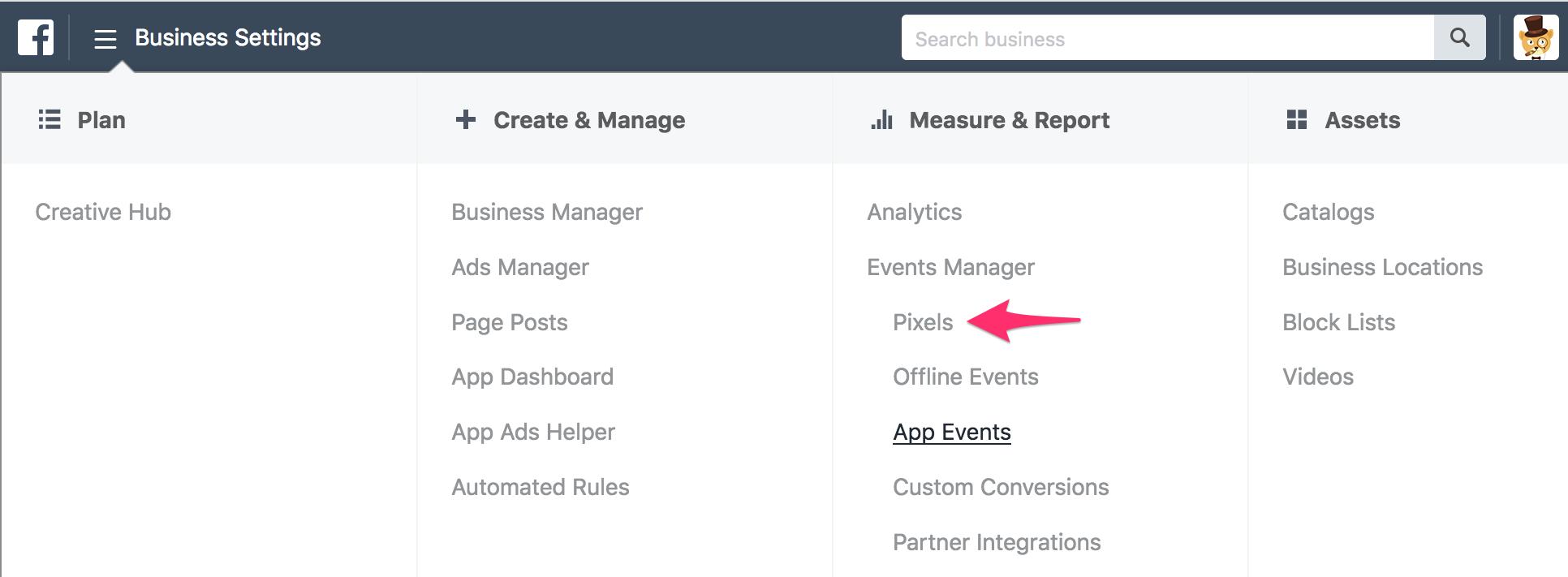 Facebook Pixel business manager